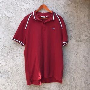 Men's Burgundy, black, white polo shirt